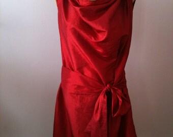 Minimalist red taffeta dress/Party dress/Cocktail taffeta dress/Red dress