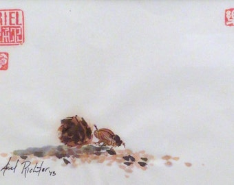Dung beetle - print (7x4.5 inches) sumi-e