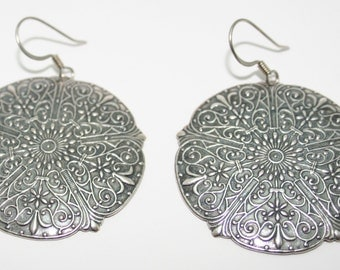 Silver Plated Medallion Earrings