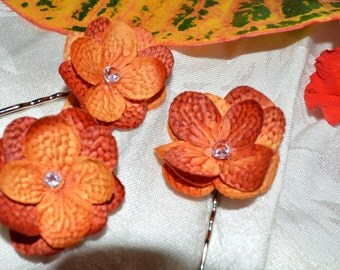 Hair Pin- Burnt Orange Hydrangea Flower with Swarovski Crystal