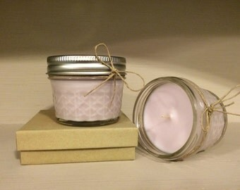 Small Lavender Scented Mason Jar Candle // 4oz Soy Wax Candle // Homemade