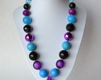 Purple & Turquoise CHUNKY necklace with acrylic beads, tiger tail stringing, and metal toggle clasp
