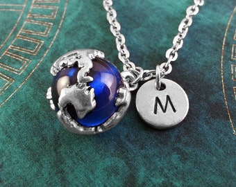 Earth Necklace, Personalized Necklace, Blue Globe Pendant, Custom Necklace, World Necklace, Monogram Necklace, Globe Charm Necklace, Travel