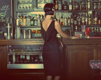 Great Gatsby Dress //40% Off! // 20s Vintage Inspired Charleston // Backless Black Dress //LBD//Lindy Hop// 20er Robe Charleston
