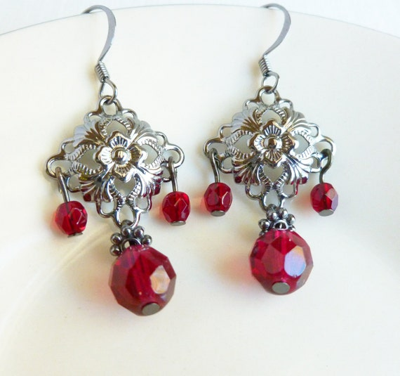 Red Diamond Chandelier Earrings: CUSTOM ORDER JULIO Garnet Earrings Ruby Earrings Red