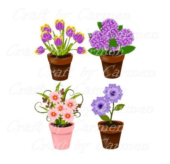 Vasos de flores, plantas, jardim, primavera,scrapbook, desenho grafico