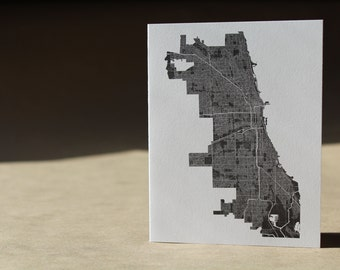 Chicago Map Note Card