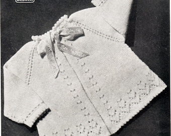 Vintage Knitted Baby Jacket Pattern.