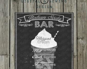 Chalkboard Italian Soda bar sign/picture 8x10 INSTANT DOWNLOAD digital file