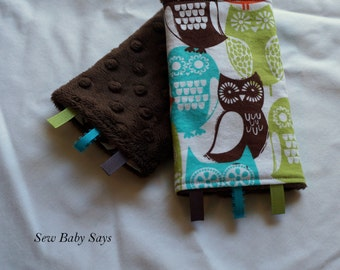 Baby Carrier Teething Pads-Reversible Strap Cover-Swedish Owls/Brown Minky Drool Pads