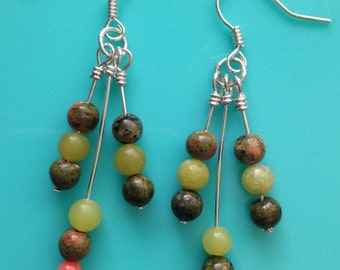 Green & Pink Triple Dangle Earrings