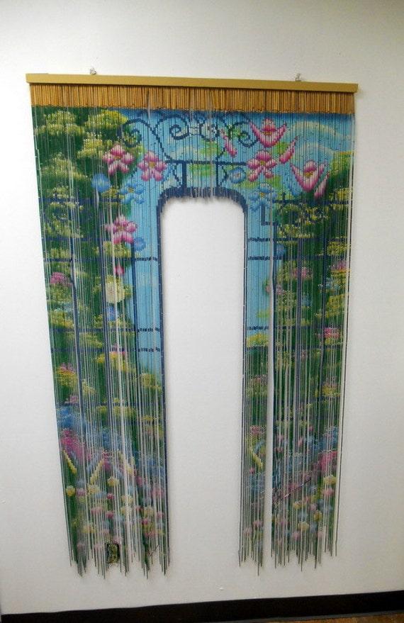 Vintage Bamboo Tiki Arched Doorway Door Curtain 60s Asian