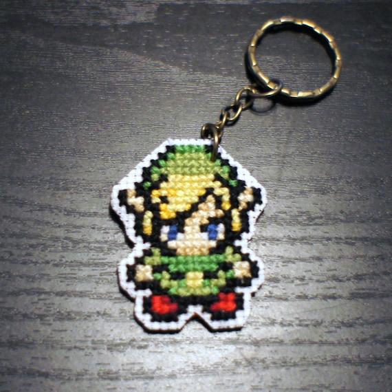 Legend Of Zelda Link Pixel Key Chain 8-bit Cross By
