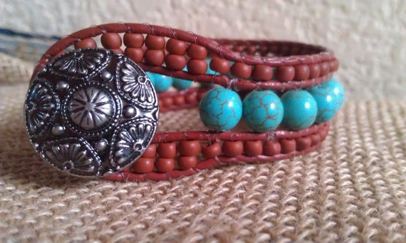 Beaded wrap cuff bracelet, western style, brick brown toho beads with howlite turquoise and a lovely silver button