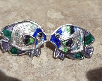 980 Silver and Enamel Post Fish Earrings for Pierced Ears