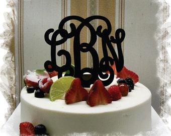"Monogram Wedding Cake Topper - 5""or 6"" Beautiful  Vine Monogram Cake Topper ( Special Custom Made Initial Wedding Topper )"