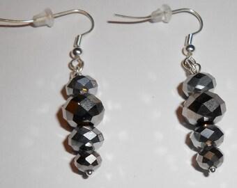 Metallic Silver Crystal Earrings