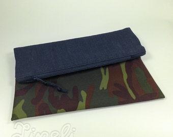 BIG SALE, Blue Denim and Military Camo Clutch, Zipper Pouch, Clutch Bag, Fold Over Clutch Purse, Denim Clutch, Denim Pouch, Fold Over Pouch