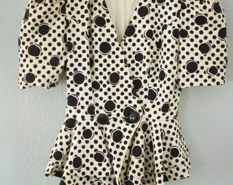 SALE Vintage Raul Blanco Abstract Puff Sleeve Poplin Coat