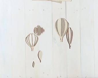Air balloons baby mobile /  Wooden baby mobile / Nursery mobile / Baby crib mobile
