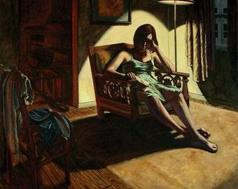 Embers of Discord: Original Oil Painting, female portrait, figurative art