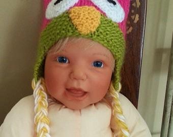 Pdf pattern/Owl Hat Pattern/knit owl hat/owl hat knitting pattern/baby owl hat pattern/knit hat for baby/owl pattern/knit earflap hat