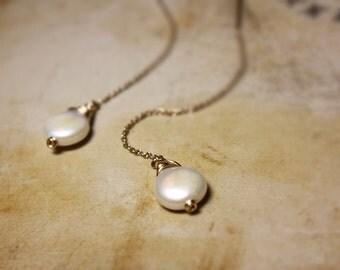 Pearl Earrings, Drop Earrings, Goldfilled chain earrings,  Wire Wrapped
