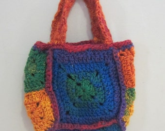 Rainbow Hand Crocheted Small Tote
