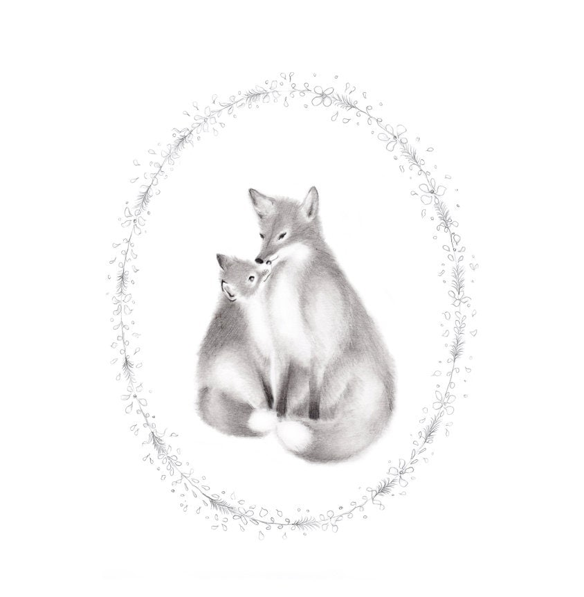 Fox Nursery Art Woodland Animals Grey Baby animal Pencil