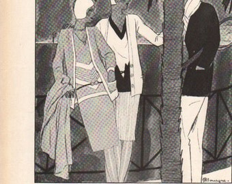 THREE FOR FOUR Art Deco era fashion print from Vogue magazine, front & back - fash 142