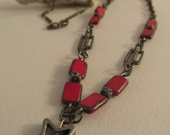 2635-Necklace, Metal  and Czech Glass