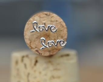 Love Message Stud Earrings in Sterling Silver