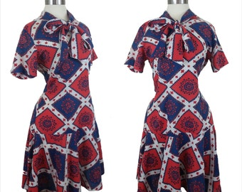 60s Shift Dress Red White and Blue Americana M