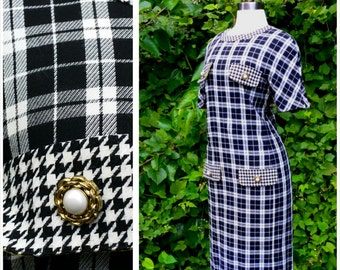 60s Mod Dress Designer Houndstooth with Decorative Pearly Buttons M
