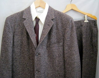 Price cut! Vintage 50s Wool FLECKED TWEED SUIT 3 Button Tradional Ivy Style Rockabilly Swing Preppy Hollywood Waist Trousers 39-40 Reg