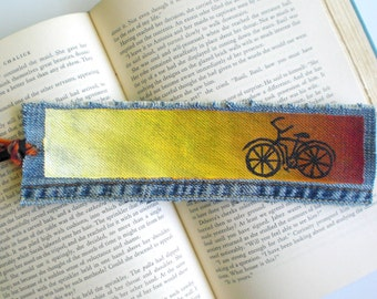 Bicycle Bookmark, Unique EcoFriendly Gift, Yellow Orange Ombre Bookmark, Hippie Gift, Bohemian Upycled Bike Art, Friendship Gift, Cycling