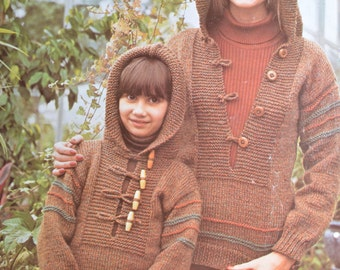 PDF hooded sweater vintage knitting pattern to knit sizes 24 to 42 inches kids womens INSTANT download pattern only pdf 1970s