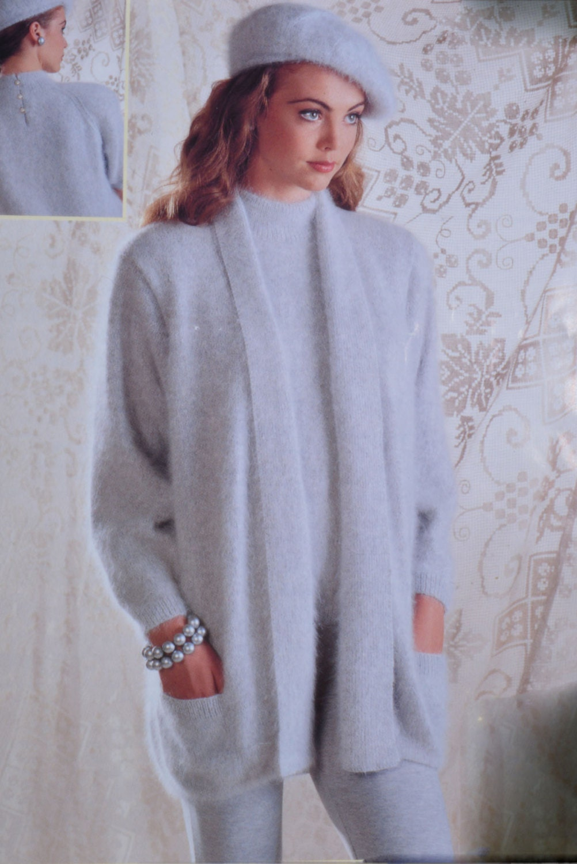Vintage knitting pattern cardigan beret short sleeve sweater