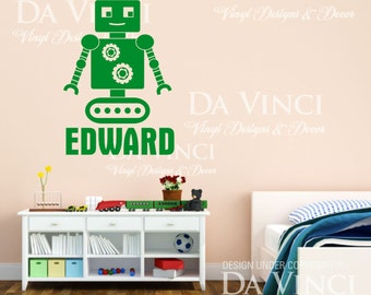 Robot Gadget Personalized Custom Name Vinyl Wall Room Decal Sticker Decoration