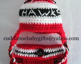 Baby Shower Chicago Hockey Hawks Hockey Baby Hat & Diaper Cover Baby Shower Gift Baby Photo Prop