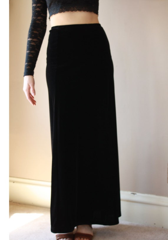 Vintage High Waisted Black Velvet Skirt. Velvet Maxi Skirt.
