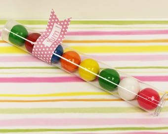 Gumball Tube, 10 Plastic Tubes, Birthday  Party Gum BallTube, Candy Tube, GumBall Tube, Bubble Gum Tube, Candy Favor, Plastic Tube Container