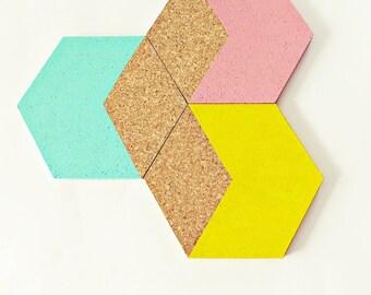 "3 geometric Cork coasters ""Hexagon"" pastel, mint, pink, yellow, Cork coasters, kitchen utensil, kitchen utensil, dip-dye, Hexagon"