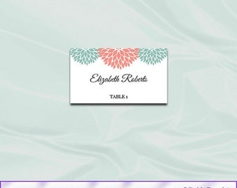 Mint Coral Wedding Place Card Template, Diy Printable Party Floral Tent Seating Name Cards, Editable Text, Instant Download Pdf Word P65