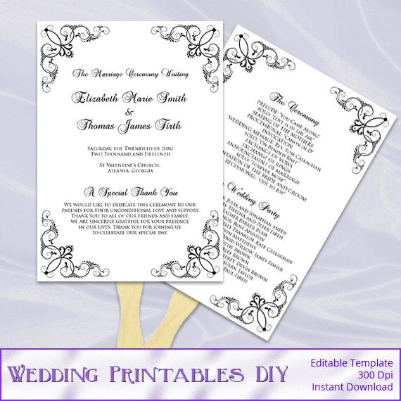 Items Similar To Black And White Wedding Fan Program Template