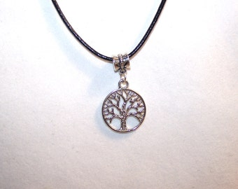 Tree of Life Necklace: Family Tree leather necklace; Tree of Life leather necklace; Silver tree of life charm necklace; Family tree