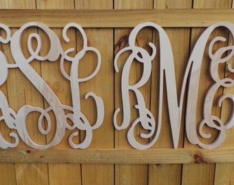 "SALE!!! - Two 20"" Wooden Monograms -  Unfinished Wooden Letters - Wedding Monogram - Vine Script Monogram - Monogram Home Decor"