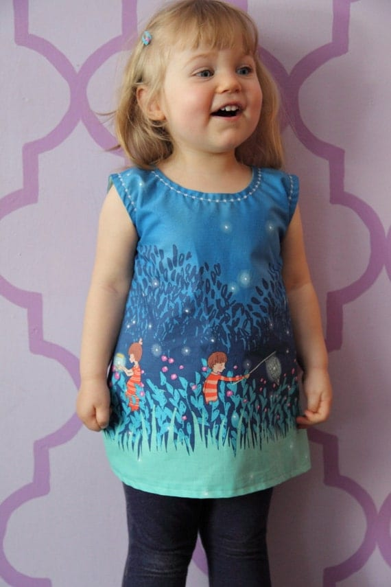 Toddler (2T) Dress - Wee Wander Summer Night Lights fabric