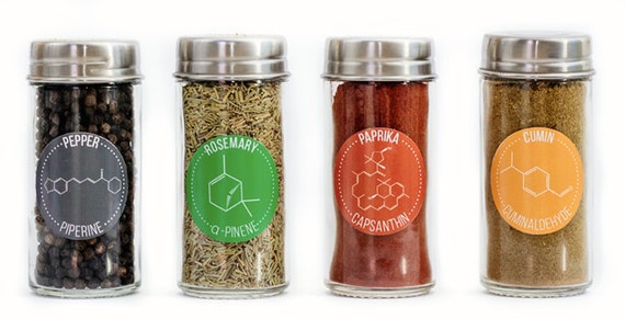30 Chemical Compound Herb & Spice Jar Labels