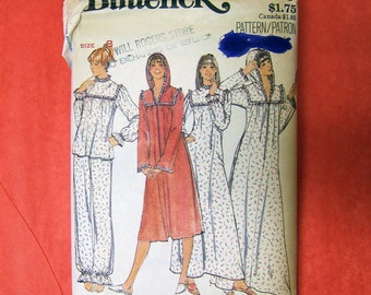 Vintage Pattern | 1970s Misses Pajamas Nightgown Robe | Butterick 5659